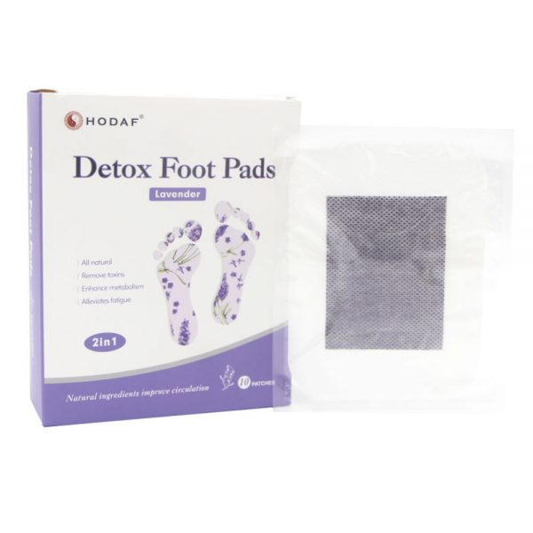 detox foot pads lavender scented pack with pad showing